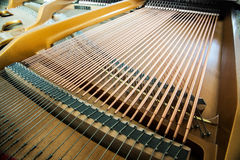 Closeup of grand piano showing the strings, pegs a royalty free stock photography