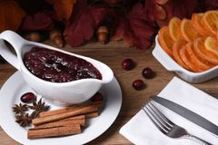 Cranberry Sauce on Thanksgiving Table Stock Photo