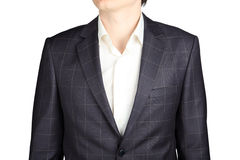 Closeup gray checkered  suit coat for men, isolated over white. Stock Photo