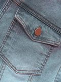 Closeup of gray denim jeans pocket Royalty Free Stock Image