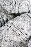 Closeup of a gray knit texture for background Stock Photo