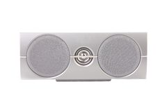 Closeup of gray sound speaker. Stock Images