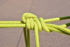 Climbing knot. Closeup of a great knot on a climbing rope royalty free stock photography