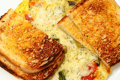 Closeup Gree Frittata with Sour Dough Bread Toasted Royalty Free Stock Photography