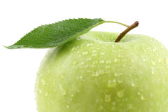Closeup green apple fruit with leaf isolated Royalty Free Stock Images