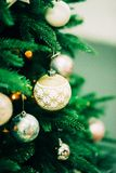 Closeup of Green Christmas tree and pink ball decorations. Closeup of Green Christmas tree and ball decorations Royalty Free Stock Photos