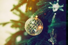 Closeup of Green Christmas tree and pink ball decorations. Closeup of Green Christmas tree and ball decorations Stock Photos