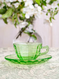 Closeup of Green Depression Glass on Wedding Table Stock Photo