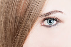 Closeup of green eye and perfect skin Royalty Free Stock Images