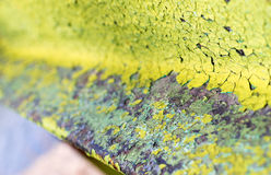 Closeup of Green Flaking Paint Stock Photography