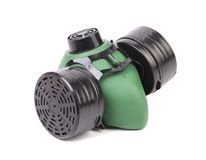 Closeup of green gas mask. Stock Photo