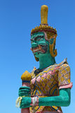 Closeup of green Giant statue at Golden Laem Sor Pagoda, in Ban Stock Photos