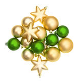 Closeup of green and golden balls Royalty Free Stock Photography