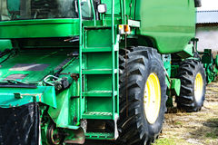 Closeup of green harvester. Parked combain in the spring. Captur Royalty Free Stock Images