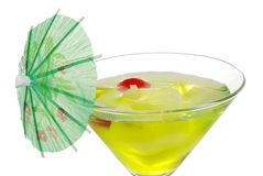 Closeup of a Green martini with an umbrella Royalty Free Stock Photos