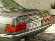 Closeup of a green Mercedes-Benz 450 SLC in Spain Royalty Free Stock Photography