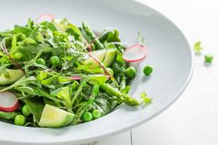 Closeup of green salad with spinach, radishes and asparagus. On white table Royalty Free Stock Photo