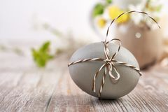 Closeup on grey Easter egg tied with checkered cord on wood. Closeup on grey Easter egg tied with checkered cord with flowers on wood, text space royalty free stock photography
