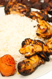 Closeup of grilled chicken and rice Stock Photos