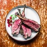 Closeup of grilled lamb chops Stock Photo