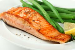 Closeup of Grilled Salmon Fellet with Green Beans Stock Photo