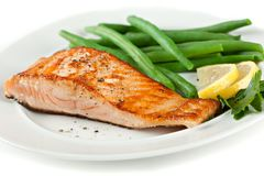 Closeup of Grilled Salmon Fellet with Green Beans Stock Photos
