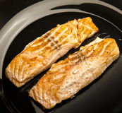 Closeup of Grilled Salmon Fillet Royalty Free Stock Photos