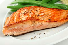 Closeup of Grilled Salmon Fillet with Green Beans