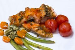 Closeup of Grilled Salmon with vegetables stock images