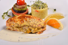 Closeup of grilled salmon and vegetables, menu from a restauran Stock Photography