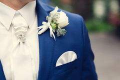 Closeup groom boutonniere Stock Image