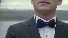 Closeup of groom`s suit and bow tie.  stock video