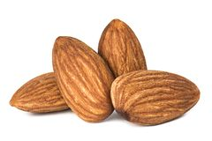 Almonds isolated. Closeup a group of almonds, Nut isolated on the white background royalty free stock image
