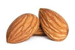 Almonds isolated. Closeup a group of almonds, Nut isolated on the white background royalty free stock images