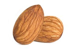 Almonds isolated. Closeup a group of almonds, Nut isolated on the white background stock images