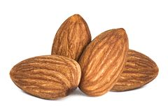 Almonds isolated. Closeup a group of almonds, Nut isolated on the white background stock photos