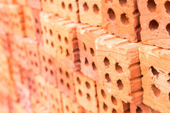 Closeup Group of blend red brick material for industry , selecti Royalty Free Stock Photo