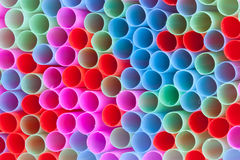 Closeup of group colorful straws Stock Photography