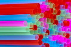 Closeup of group colorful straws Royalty Free Stock Photo