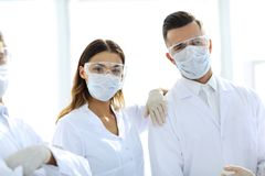 Closeup of a group of doctors surgeons. royalty free stock photo