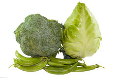 Closeup of group green vegetabl Royalty Free Stock Images