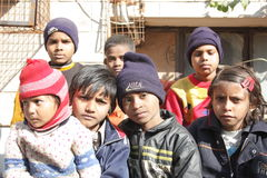 Closeup of a group of poor children in india. A group of poor children on a street in new delhi, india Stock Photography