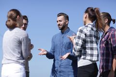 Closeup .a group of students discussing Royalty Free Stock Image