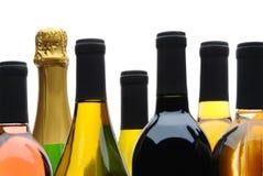 Closeup group of Wine Bottles Royalty Free Stock Photo