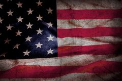 Grunge American flag. Closeup of grunge American flag Royalty Free Stock Image