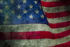 Closeup of grunge American flag Stock Images