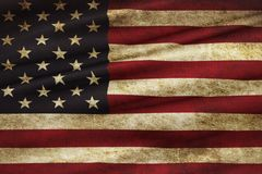Closeup of grunge American USA flag, united states of america Royalty Free Stock Image