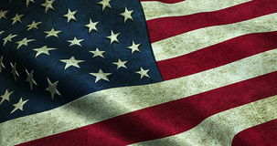 Closeup of grunge American USA waving flag. United states of america stock video footage