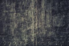 Closeup grunge old black metal plate as background texture Stock Images