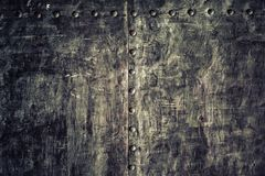 Closeup grunge old black metal plate as background texture Stock Photography
